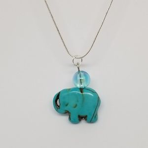 Turquoise Elephant .925 Sterling Silver Necklace
